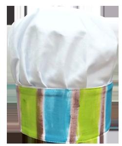 56C0C6 chapéu chef intantil azul e verde
