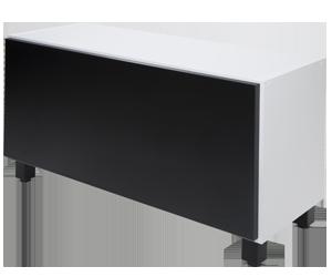 armário baixo branco porta preta