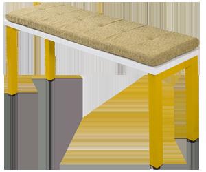 banco branco pés amarelos com futton