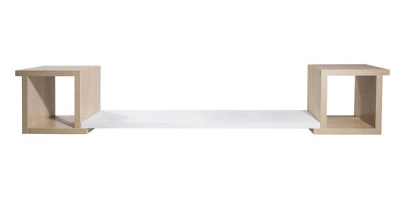 nicho com aba e prateleira carvalho prata frente
