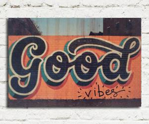 quadro madeira pinus good vibes
