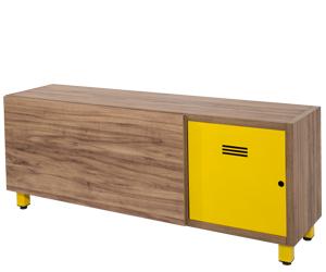 rack tv amendola porta amarela pés tubular amarelo