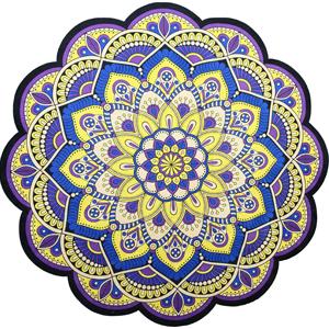 tapete mandala amarelo roxo azul 11576