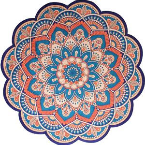 tapete mandala laranja azul 11575