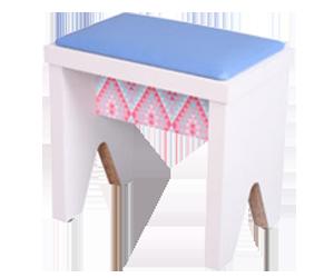 banquinho bp branco assento azul customizado