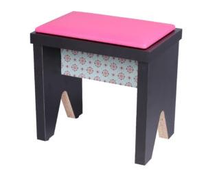 banquinho bp preto assento pink customizado