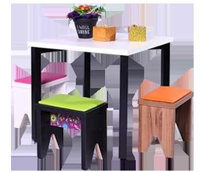 mesa quadrada infantil com mini banco