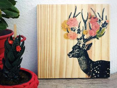 quadro ilustracao cervo decoracao