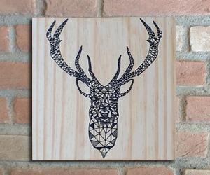 quadro madeira pinus cervo
