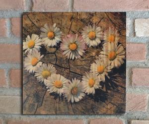 quadro madeira pinus amor flor