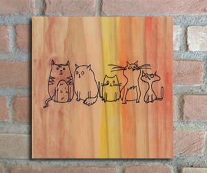 quadro madeira pinus cats petshop