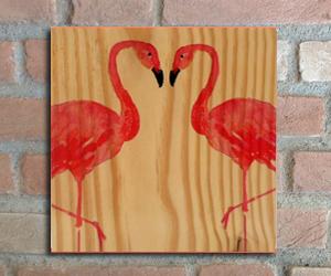 quadro madeira pinus flamingo amor
