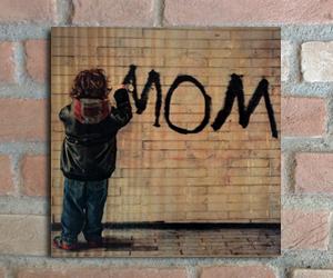 quadro madeira pinus mom infantil