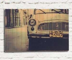 quadro madeira pinus old car art