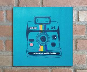 quadro madeira pinus polaroid cores