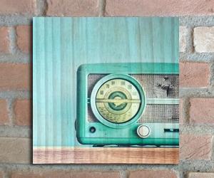 quadro madeira pinus radio vintage