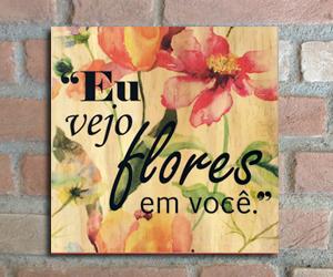 quadro madeira pinus vejo flores