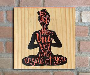 quadro madeira pinus yoga